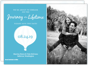 Blue Watercolor Hot Air Balloon Save the Date