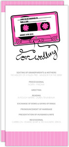 Retro Pink Mixed Tape Wedding Program