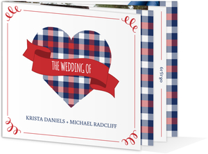 Whimsical Plaid Heart Booklet Wedding Invitation