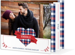 Whimsical Plaid Heart Photo Booklet Wedding Invitation