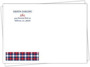 Whimsical Plaid Heart Custom Envelope