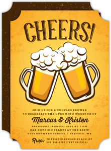Rustic Yellow Cheers Beer Couples Shower Invite