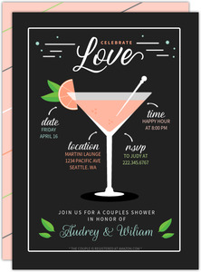 Martini Recipe Couples Shower Invitation