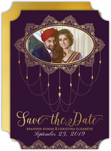 Elegant Purple & Gold Save the Date Card