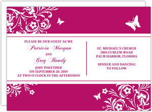 Bright Pink Butterfly Floral Wedding Invitation