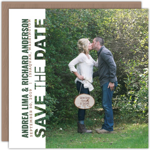Green Brown Modern Save The Date Card