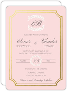 Turquoise Damask with Photo Wedding Invitation