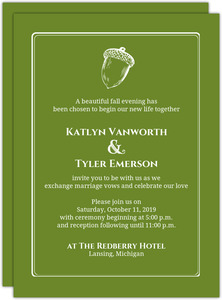 Rustic Green Fall Acorn Wedding Invitation