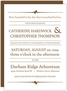 Rustic Brown Typographic Wedding Invitation
