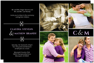 Modern Black Photo Wedding Invitation