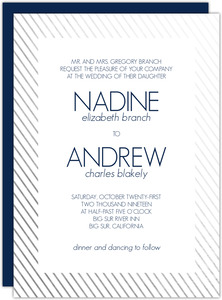 Modern Stripes Silver Foil Frame Invitation