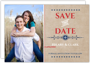 Patriotic Western Stars Red and Blue Save The Date