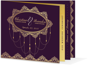 Elegant Purple & Gold Wedding Booklet Invitation