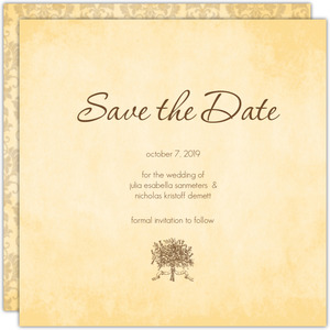 Brown and Cream Antique Wedding Heart Save the Date
