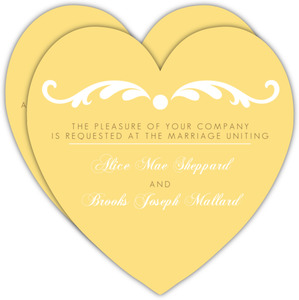 Yellow and Brown Elegant Flourish Wedding Invitation