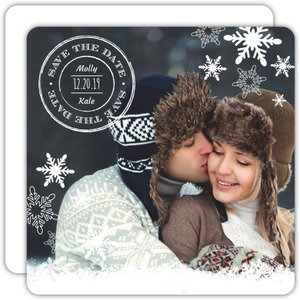 Winter Snowflake Monogram Save The Date Announcement