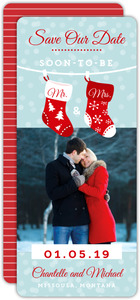 Couples Stockings Holiday Save The Date Announcement