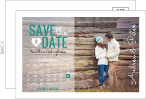 Bold Teal Typography Save The Date Postcard