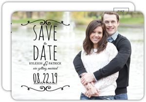 Simple Black Flourish Save The Date Postcard