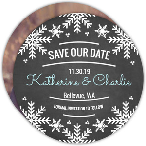 Snowflake Charm Save The Date Announcement