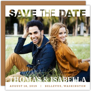 Modern White Save The Date Cutout Photo Card