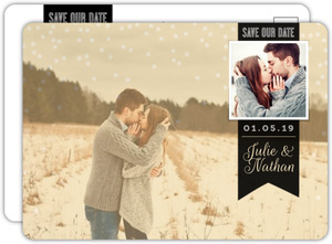 Vintage Gold Photo Banner Save The Date Postcard