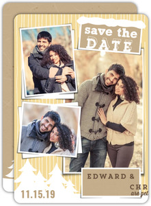 Winter Kraft Photo Collage Save The Date Card