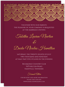 Elegant Cabernet Scallop Gold Foil Wedding Invitation
