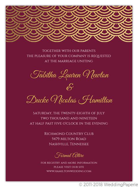 Elegant Cabernet Scallop Gold Foil Wedding Invitation