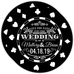 Black Casino Chip Save The Date Photo Card