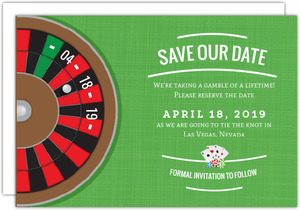Roulette Table Save The Date Postcard