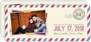 Two Custom Color Save The Date Postal Card