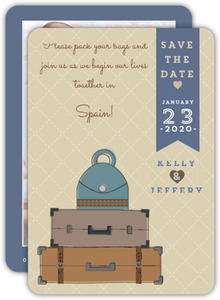 Cute Vintage Destination Save The Date Card