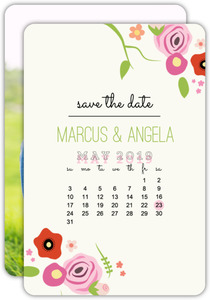 Simple Sweet Florals Calendar Save The Date Announcement