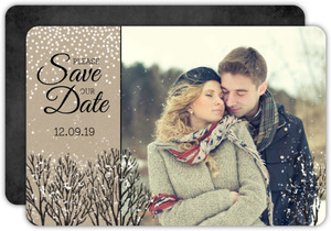 Rustic Winter Snow Save The Date Card