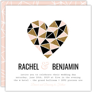 Geometric Glitter Heart Wedding Invitation