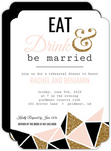 Geometric Glitter Heart Rehearsal Dinner Invitation