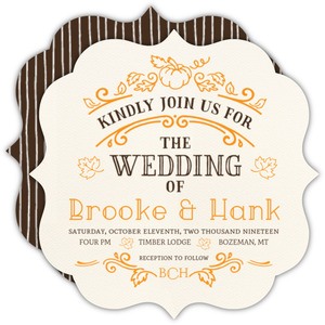 Hand Crafted Autumn Leaves Wedding Invitation
