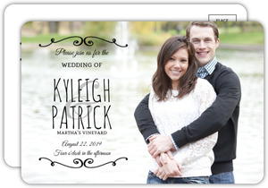 Simple Flourish Wedding Invitation Postcard