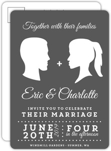 Vintage Silhouette Wedding Invitation Postcard