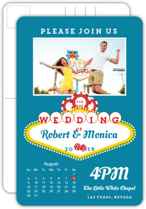 Vegas Neon Sign Wedding Invitation Postcard