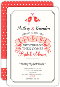 Cute Kissing Birds Bridal Shower Invitation