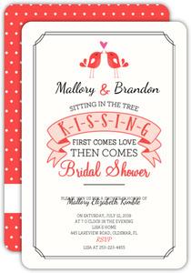 cute kissing birds bridal shower invitation