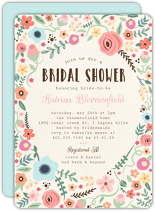 Whimsical Floral Garden Frame Bridal Shower Invitation