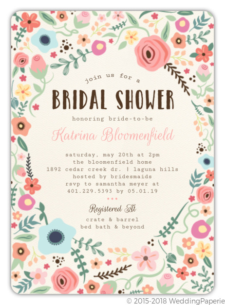 Whimsical floral garden frame bridal shower invitation bridal whimsical floral garden frame bridal shower invitation filmwisefo