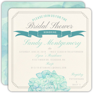 Elegant Watercolor Blooms Bridal Shower Invitation