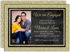 Glitter Framed Chalkboard Engagement Party Invitation