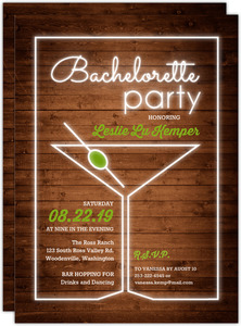 Neon Light Martini Glass Bachelorette Party Invitation