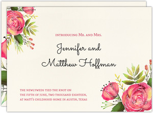 Cream Watercolor Flower Wedding Announcement