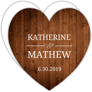 Simple Rustic Wood Heart Shaped Wedding Invite